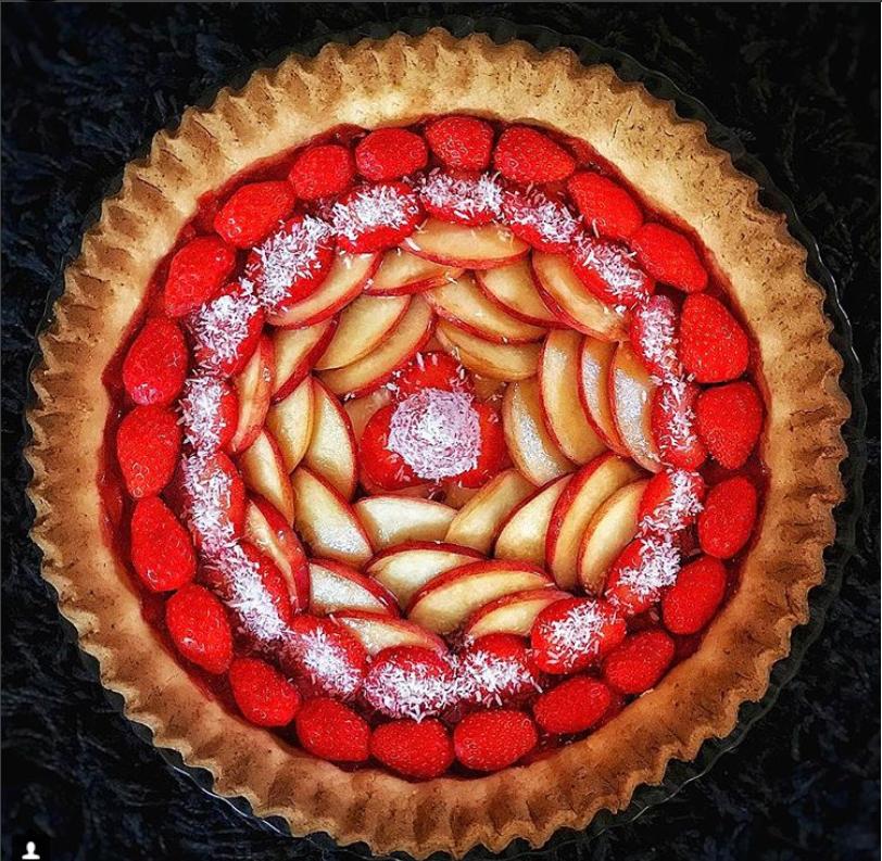 deco de tarte mandala fraises pommes