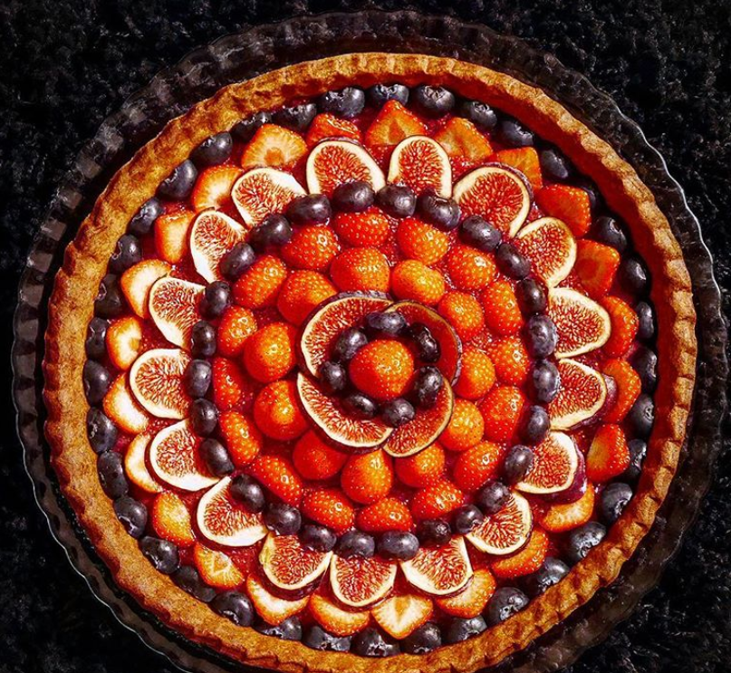 idee tarte graphique fruits mandala