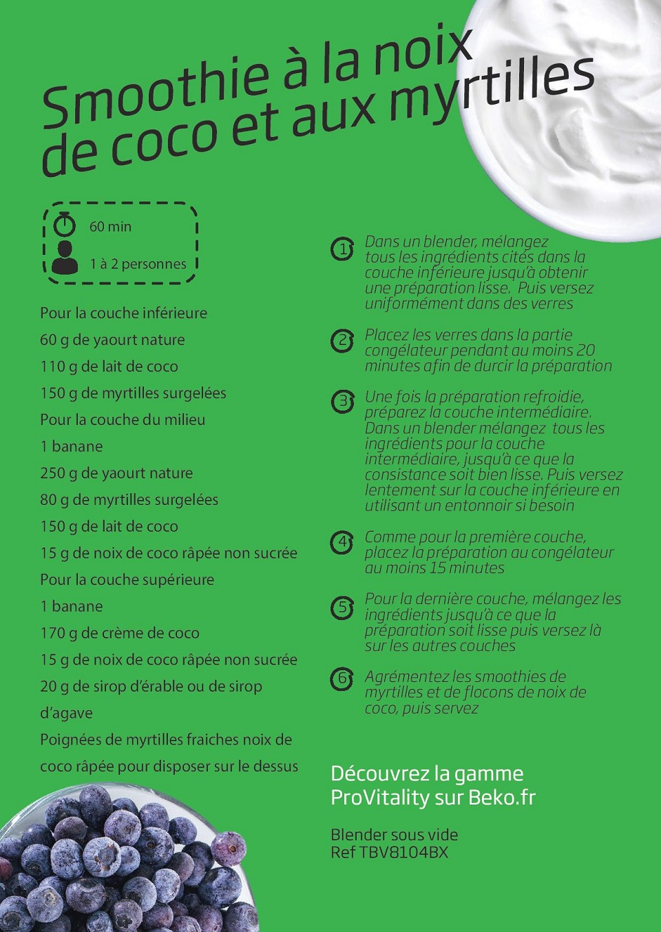 Smoothie à la noix de coco et aux myrtilles